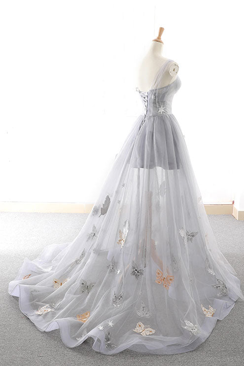 Gray sweetheart tulle long prom dress gray evening dress