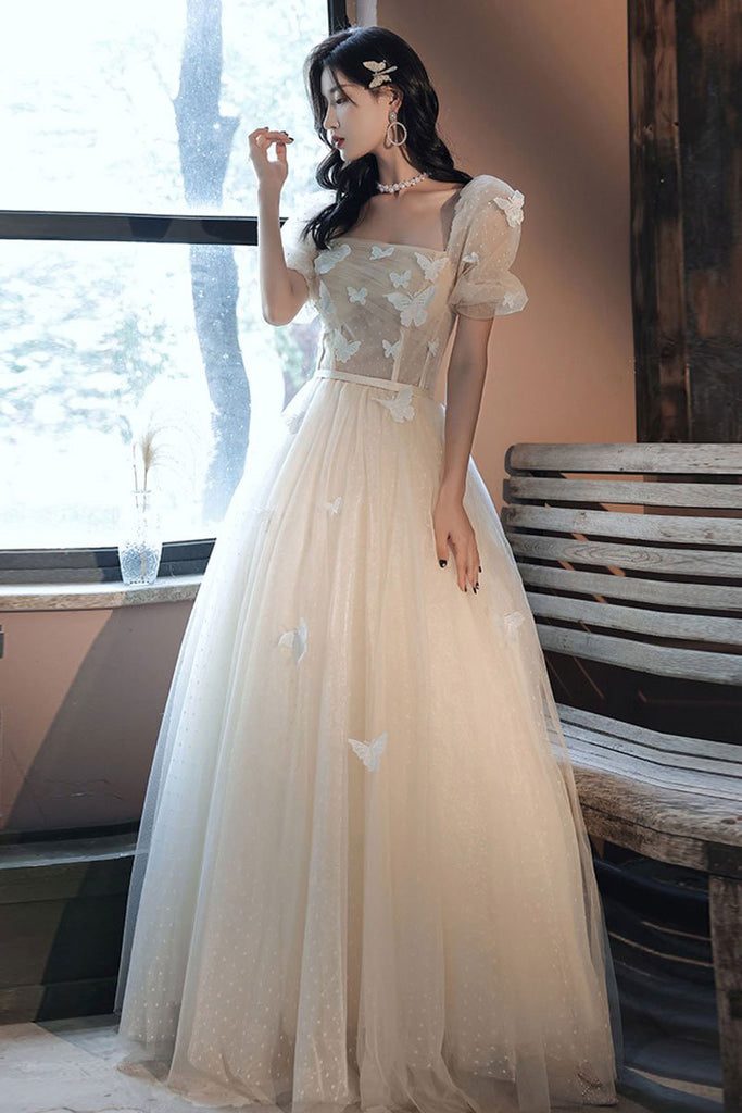 Champagne tulle applique long prom dress tulle formal dress