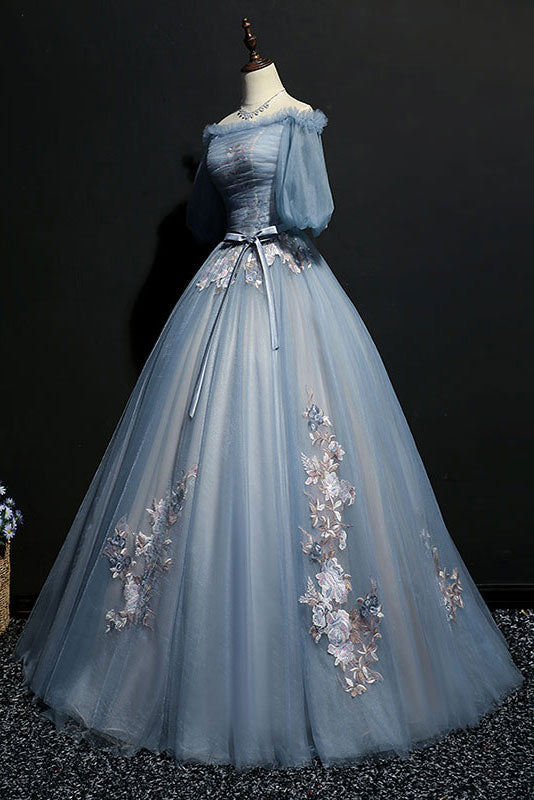 Unique gray blue tulle lace applique long prom dress, gray blue evening dress