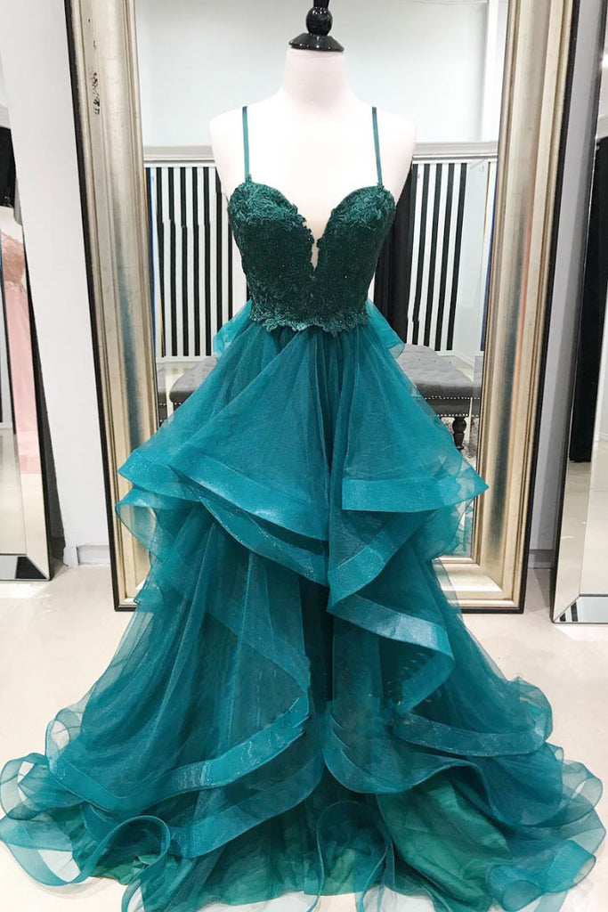 Green sweetheart neck tulle lace long prom dress, green evening dress