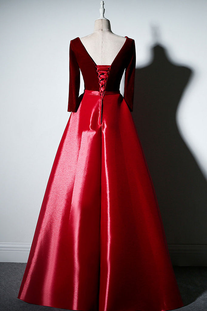 Simple A-line long sleeves burgundy long prom dress, burgundy evening dress