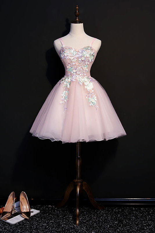Pink sweetheart tulle lace short prom dress, pink homecoming dress