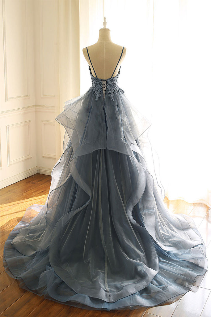Gray blue tulle lace long prom dress, blue evening dress