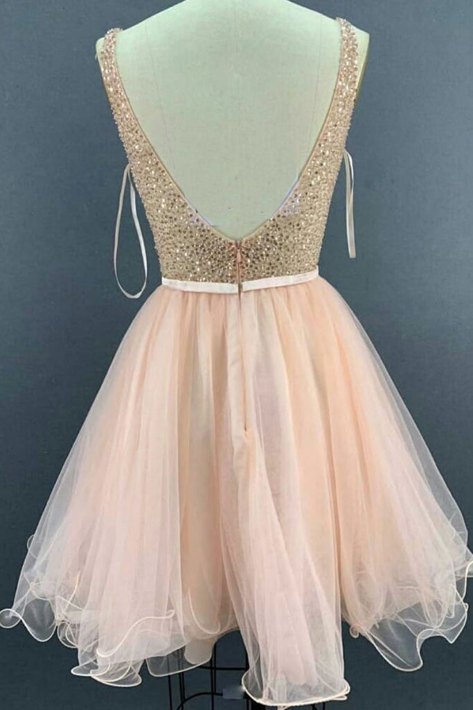 Pink v neck tulle sequin short prom dress, pink tulle homecoming dress