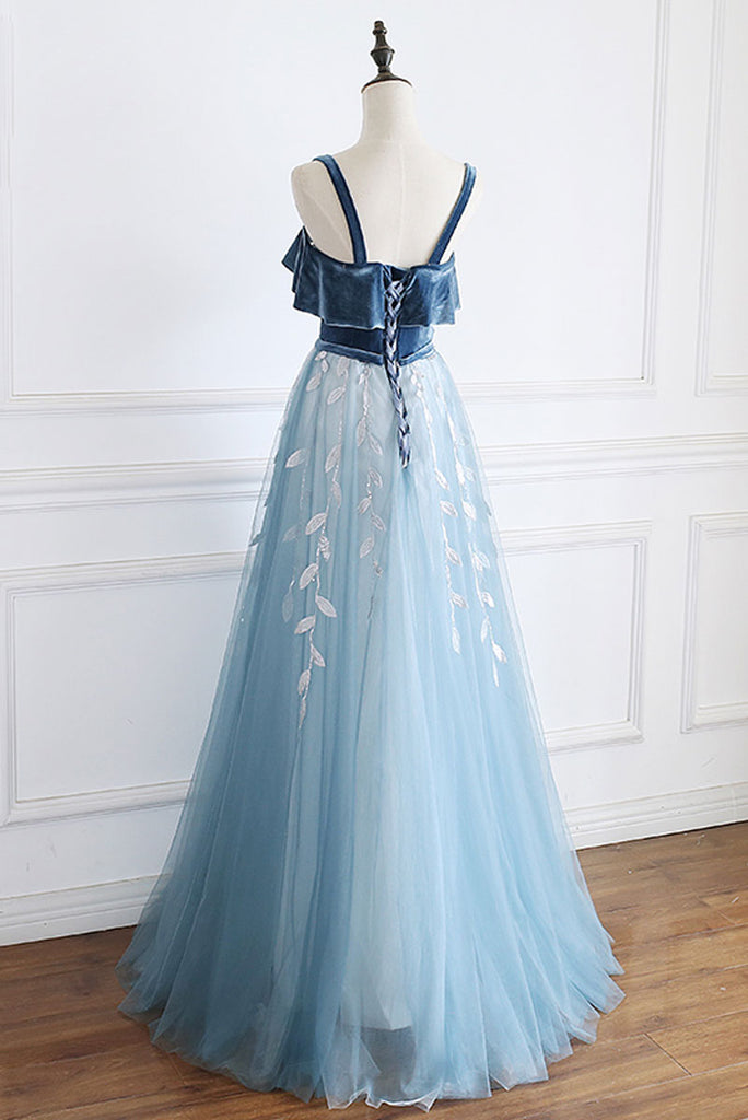 Blue tulle lace long prom dress, blue lace formal dress