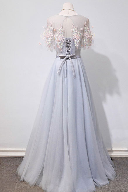 Gray tulle lace long prom dress, gray lace evening dress