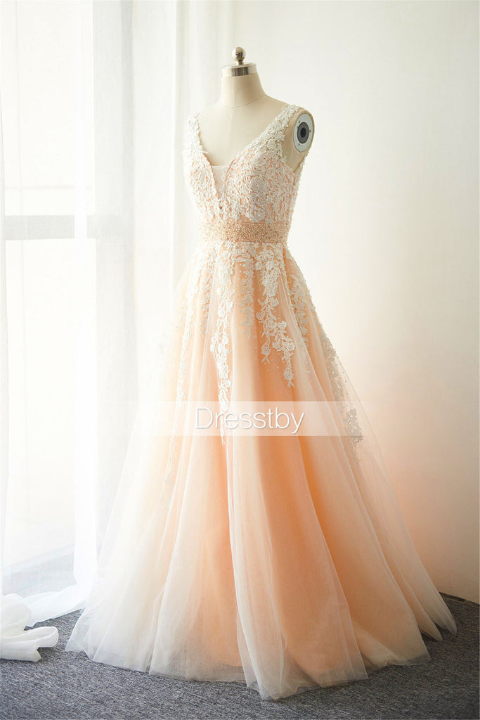 Blush Pink V Neck Beaded Lace long prom dress, wedding dress