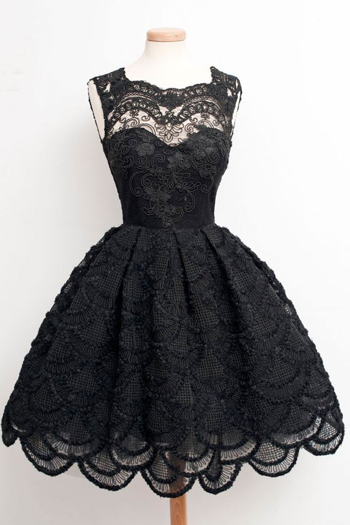 Black lace short prom dress, black homecoming dress, bridesmaid dress