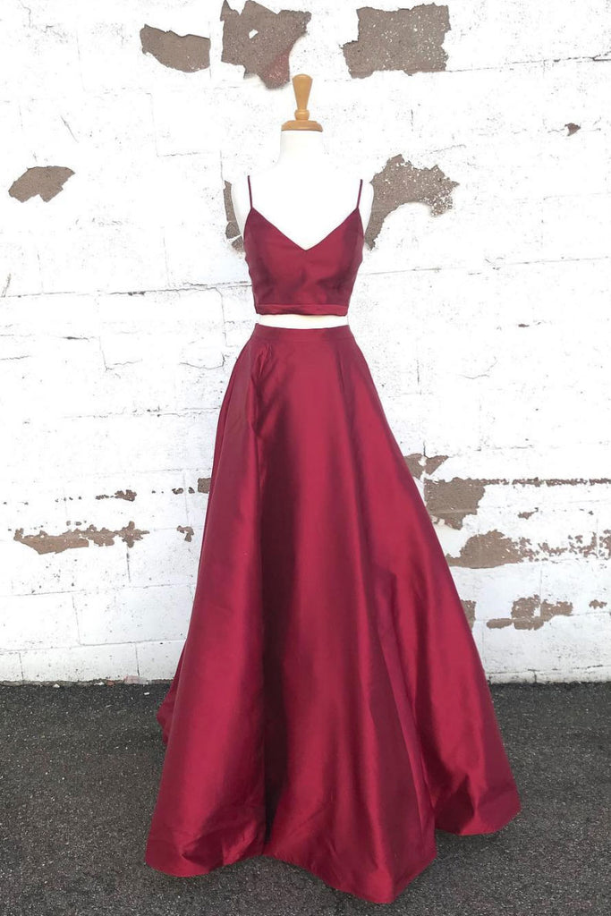 Simple two pieces satin long prom dress, burgundy evening dress