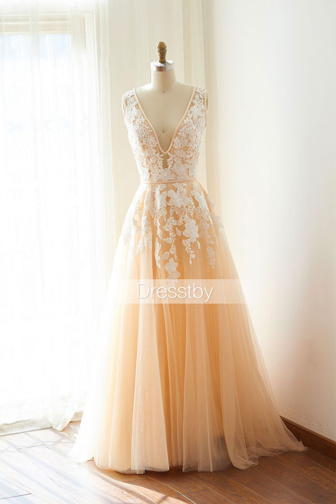 Champagne tulle lace long prom dress, tulle lace evening dresses