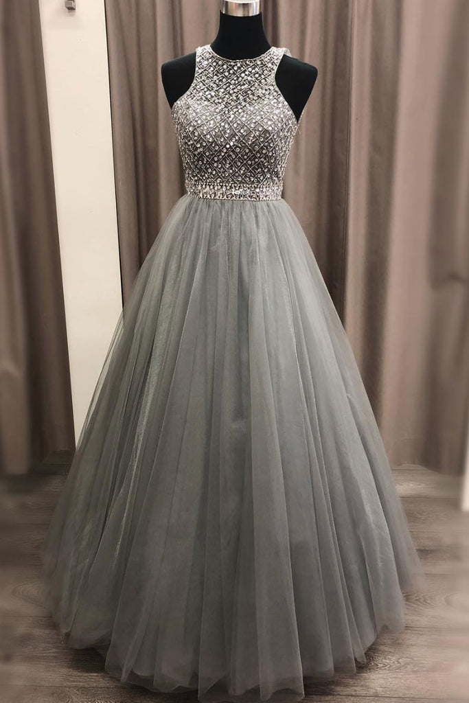Gray round neck tulle sequin long prom dress, gray evening dress