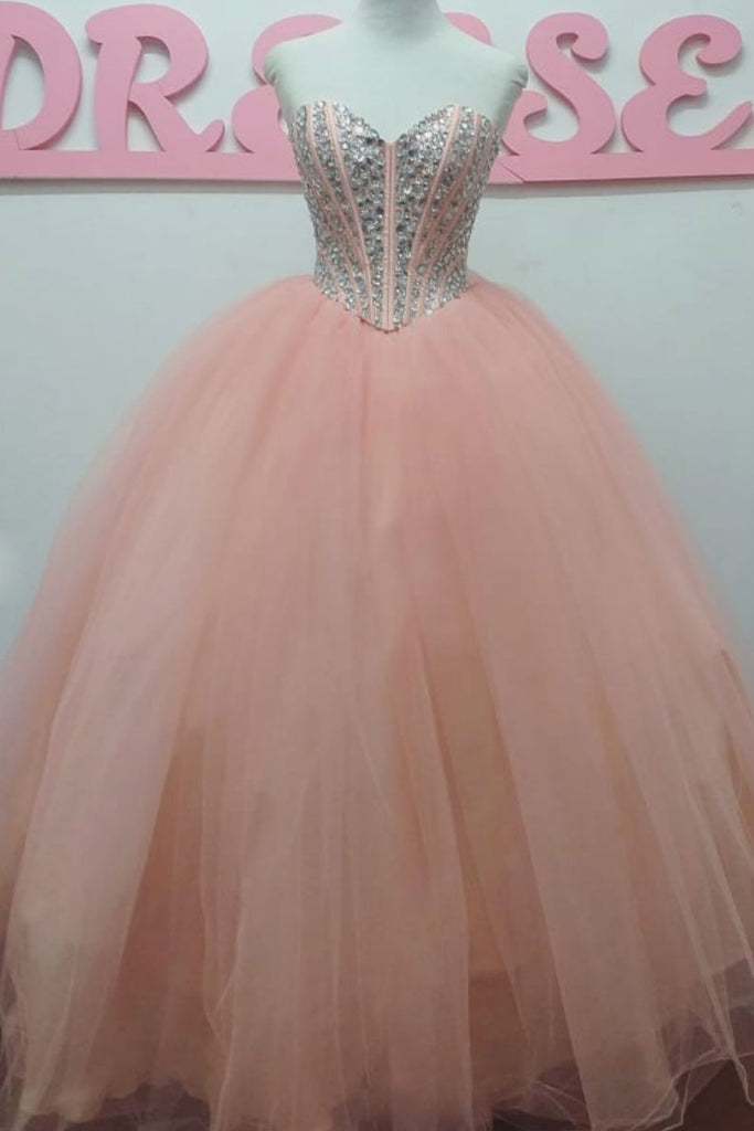 Pink sweetheart tulle beads long prom dress tulle formal dress