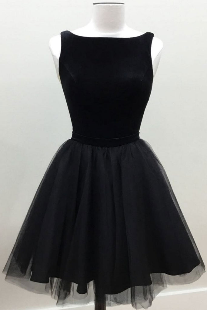 Black tulle short prom dress, black homecoming dress