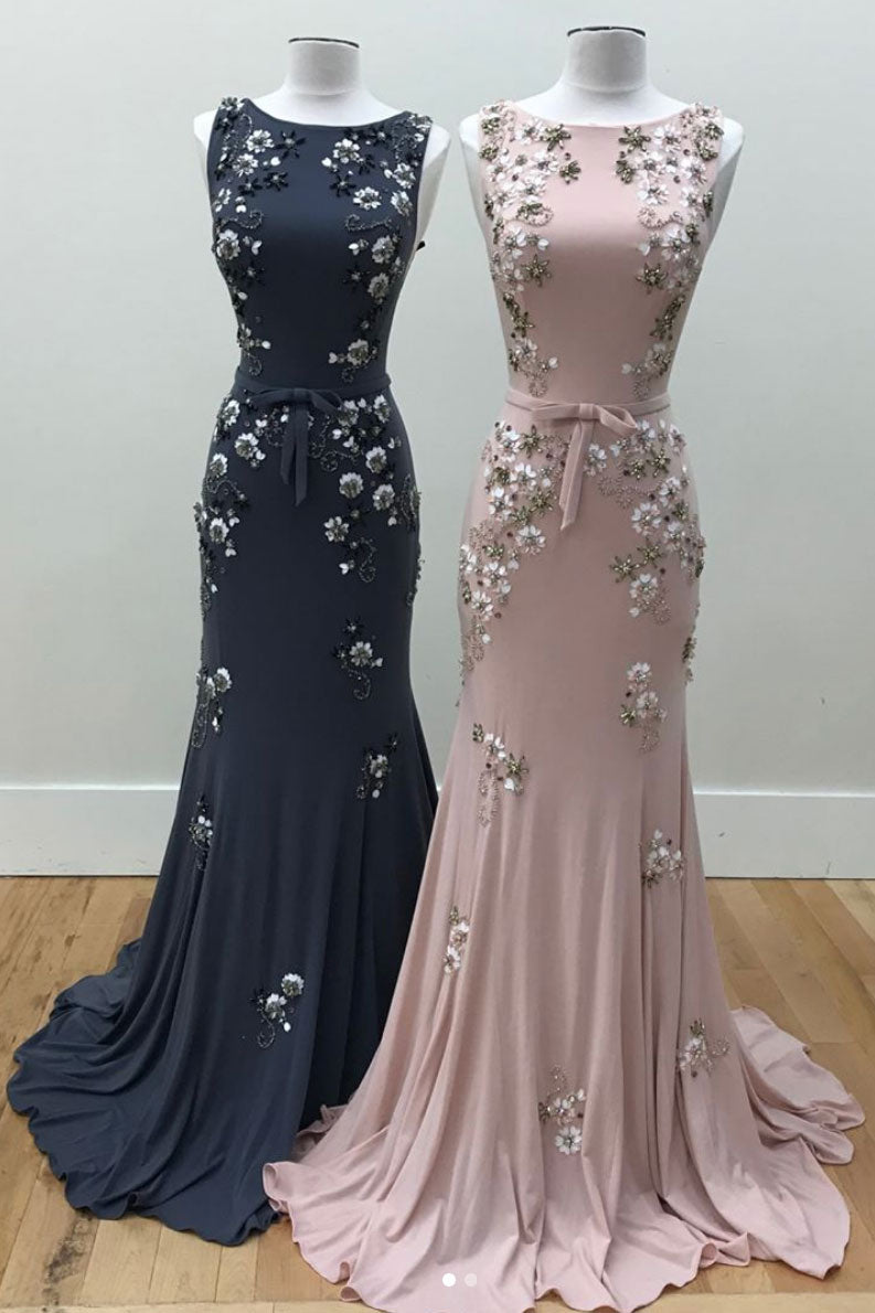 Elegant round neck mermaid long prom dress, pink evening dress