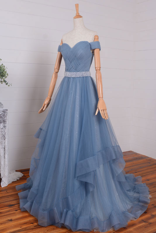 Blue tulle long off shoulder long prom dress, tulle evening dress