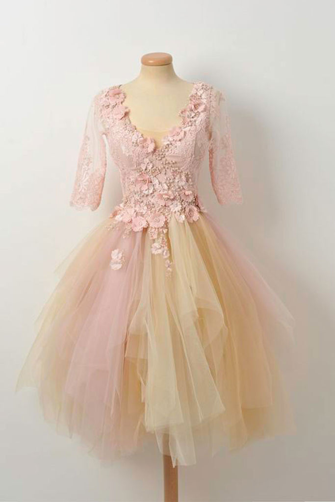 Champagne lace tulle prom dress, cute homecoming dress