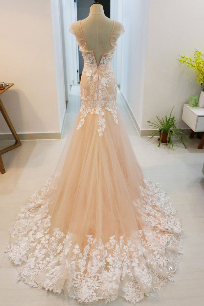 Unique mermaid lace applique tulle long prom dress, lace wedding dress