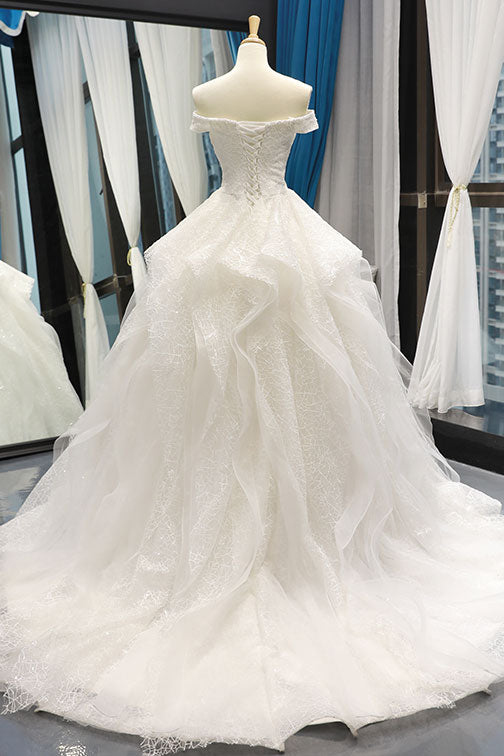 White tulle lace off shoulder long prom dress white lace wedding dress