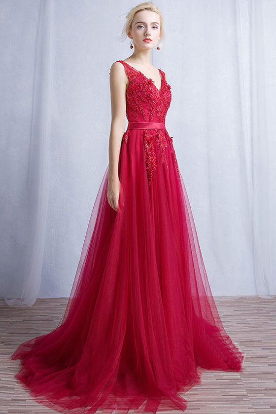 Burgundy v neck tulle lace long prom dress, burgundy bridesmaid dress