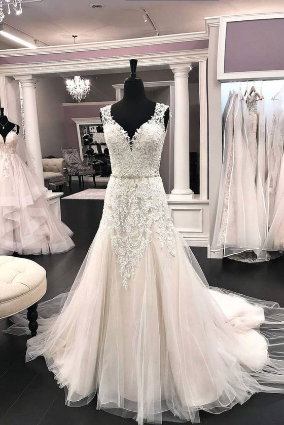 Unique v neck tulle lace long wedding dress, bridal dress
