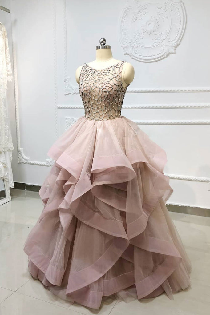 Unique round neck beads tulle long prom dress, evening dress