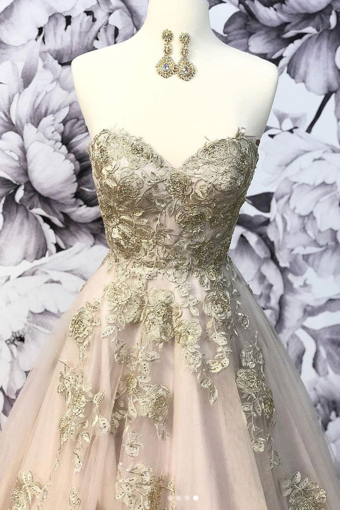 Champagne sweetheart tulle lace long prom dress, tulle lace evening dress