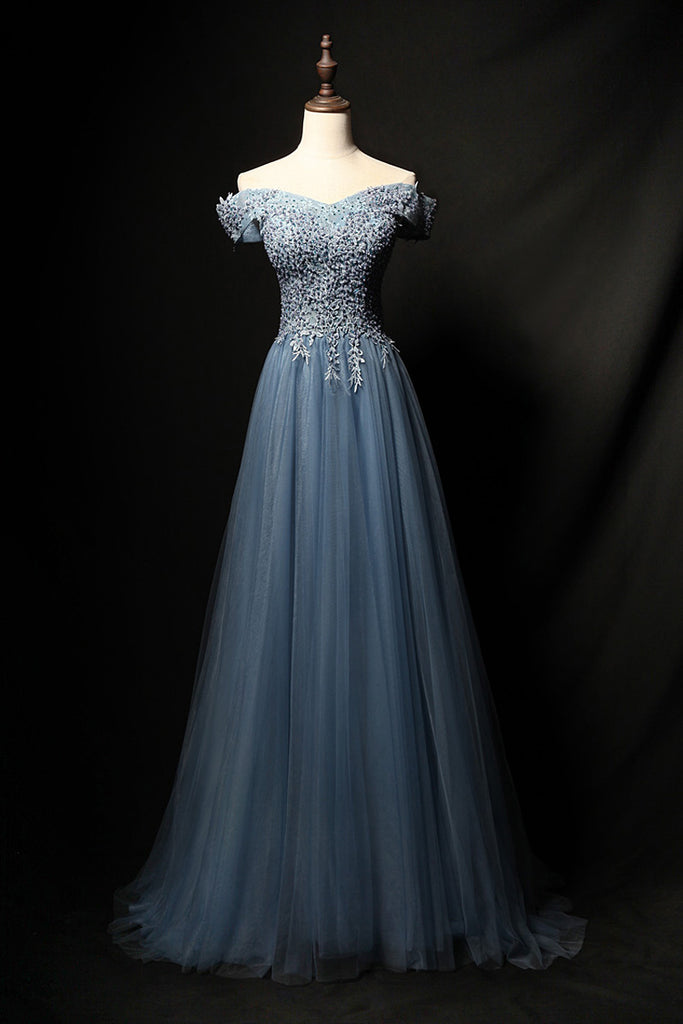 Blue tulle lace long prom dress, blue tulle formal dress