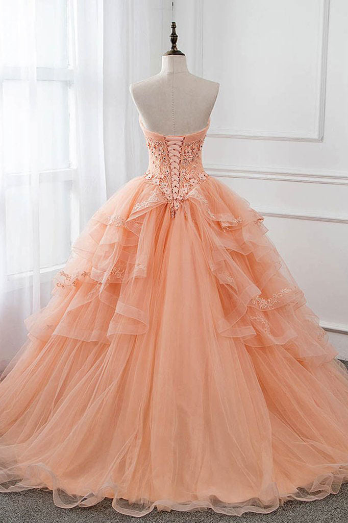 Unique sweetheart neck tulle lace long prom dress, formal dress