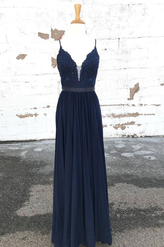Dark blue lace chiffon long prom dress, blue evening dress