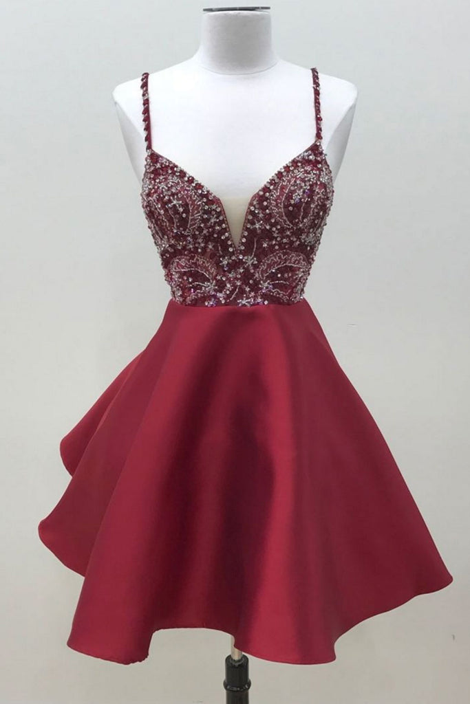 Burgundy v neck sequin beads short prom dress, burgundy homecoming dress