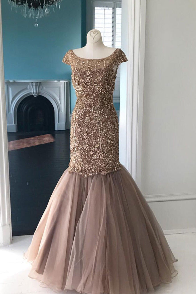 Unique round tulle sequin beads long prom dress, sequin beads evening dress