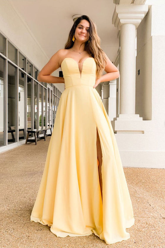 Simple yellow satin long prom dress yellow formal dress
