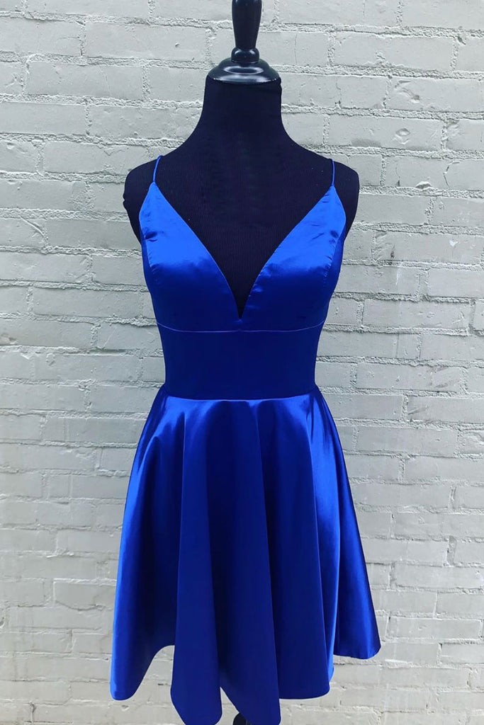 Blue v neck satin short blue prom dress blue homecoming dress