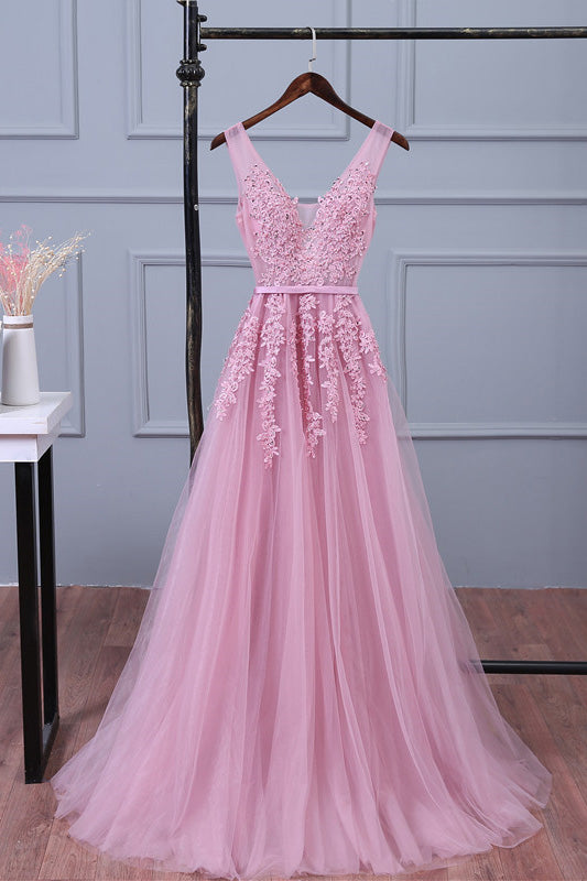 Pink v neck lace applique tulle long prom dress, pink bridesmaid dress