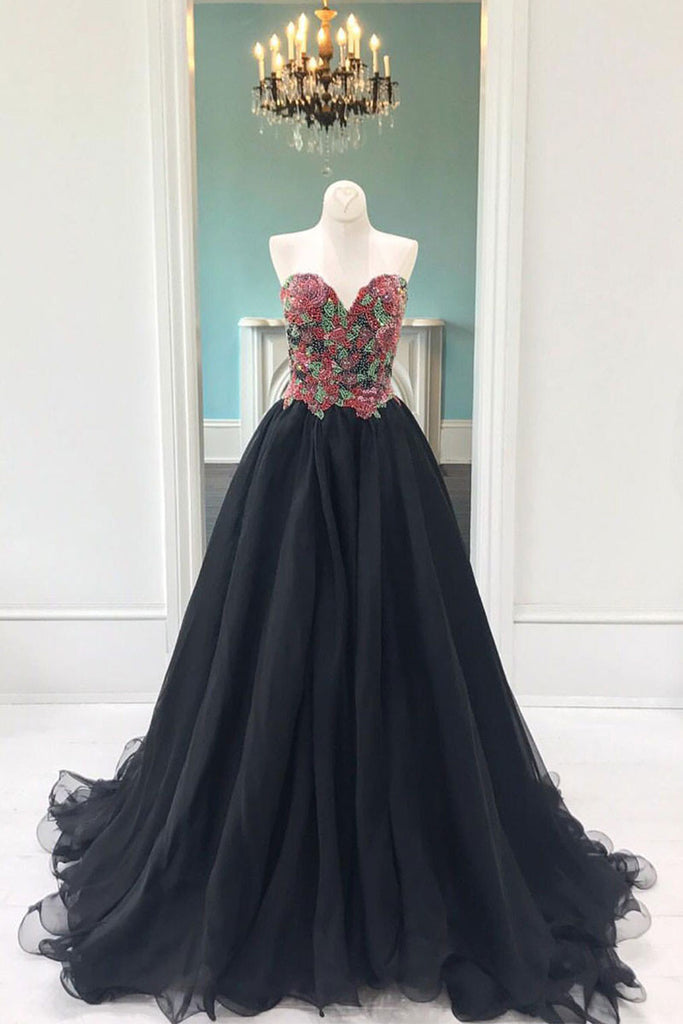 Black tulle beads long prom dress, black evening dress