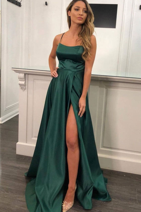 Simple green satin long prom dress green bridesmaid dress