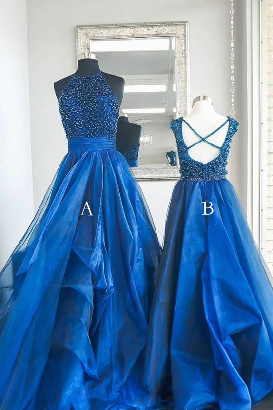 Blue high neck tulle beads long prom dress, blue evening dress