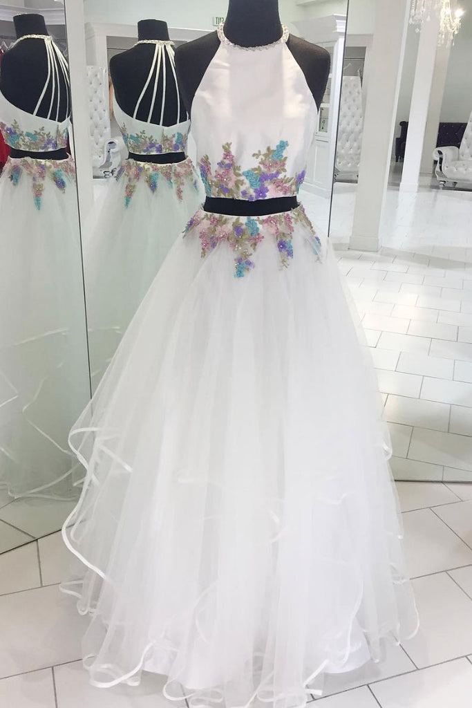 White two pieces lace applique tulle long prom dress, white evening dress