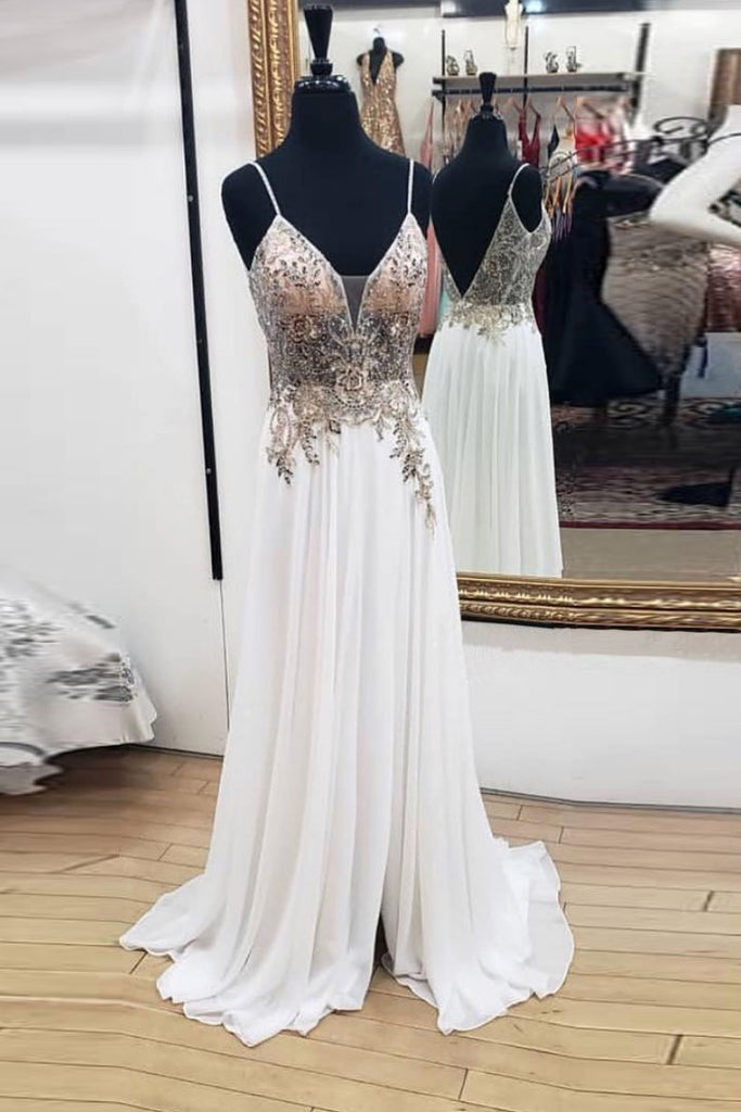 White sweetheart chiffon lace long prom dress, white evening dress