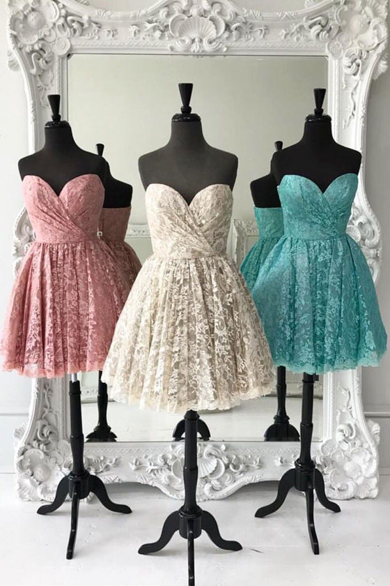 Cute sweetheart lace short prom dress, lace homecoming dress