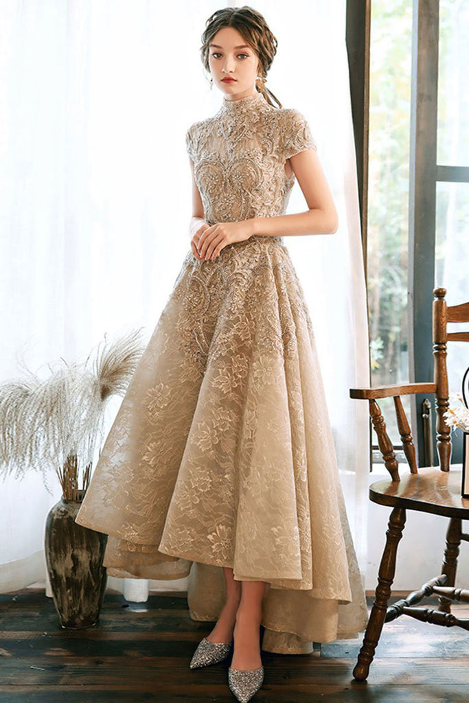 Unique high neck lace long prom dress lace formal dress