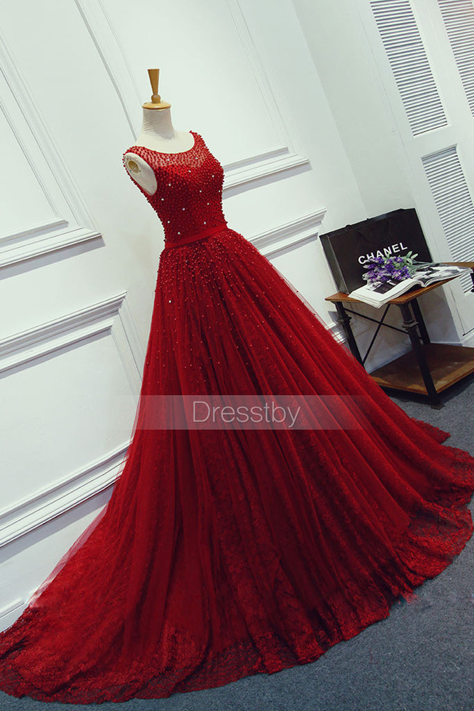 Burgundy lace tulle long prom dress, burgundy evening dress