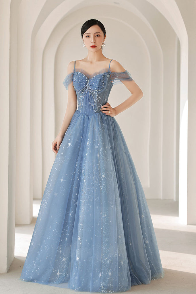 Blue sweetheart neck tulle beads long prom dress blue evening dress