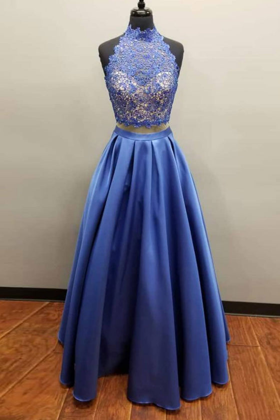 Blue two pieces lace long prom dress, blue evening dress