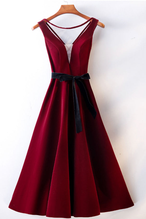 Burgundy v neck short prom dress, burgundy bridesmaid dress