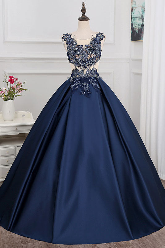 Dark blue round neck lace applique long prom dress