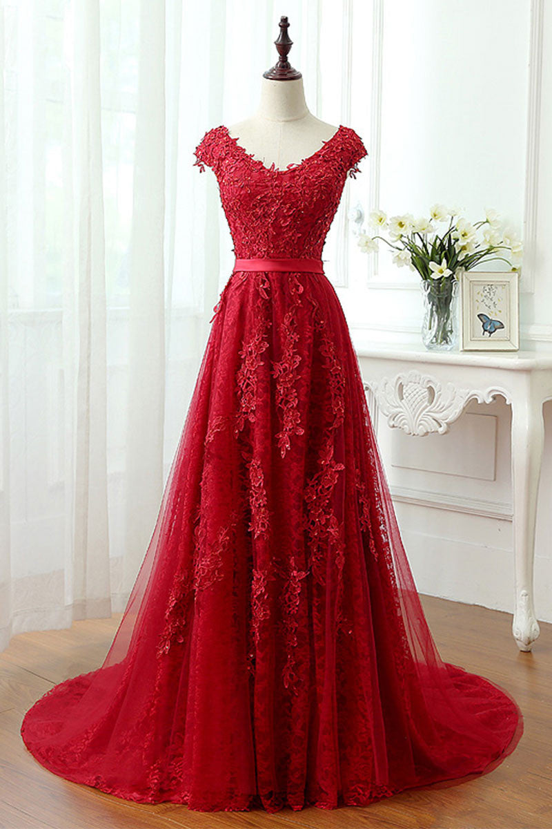 Red lace tulle long prom dress, red lace evening dress - dresstby
