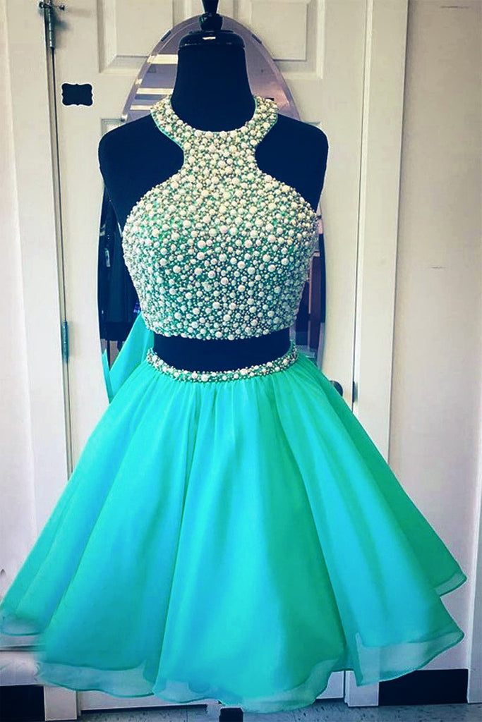 Green two pieces short prom dress, cute green homecoming dress