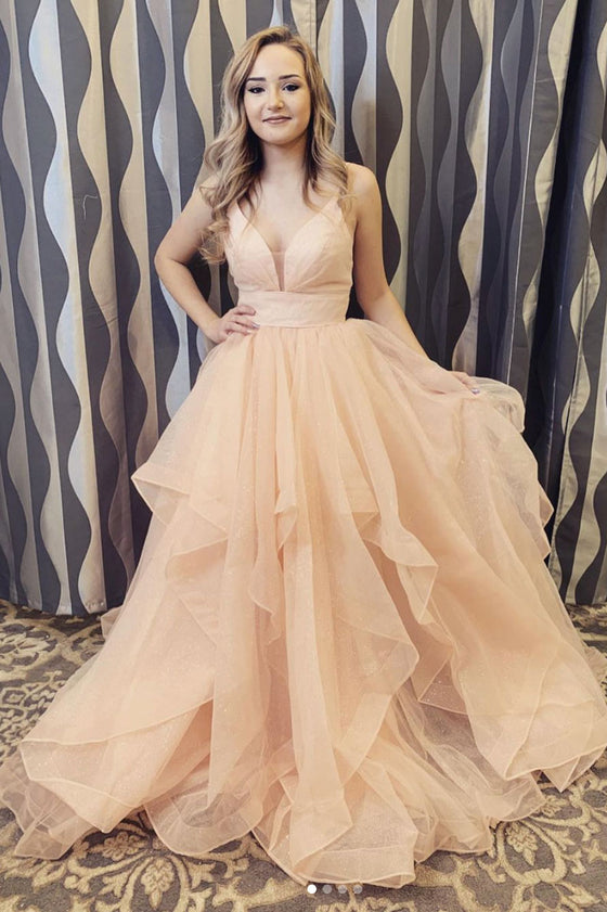 champagne tulle long prom dress champagne evening dress