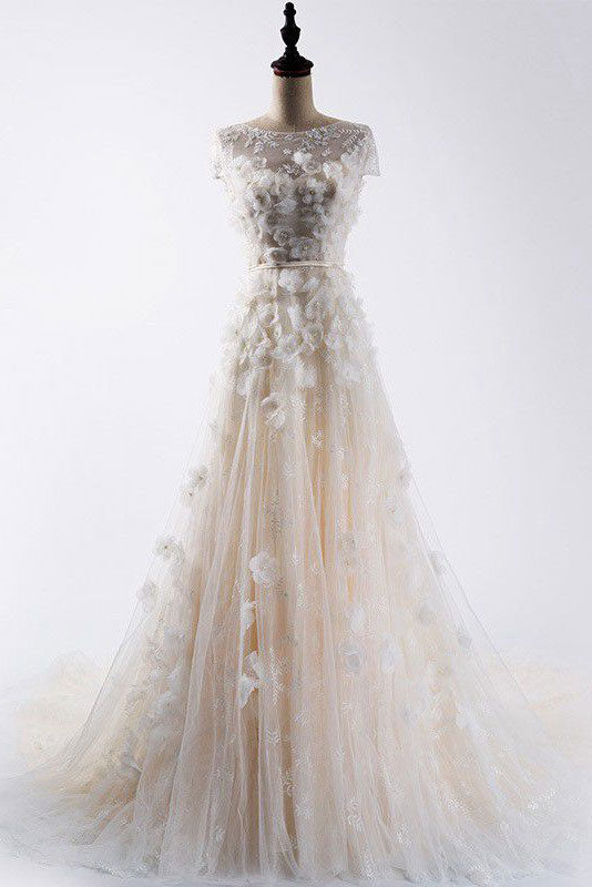 Light champagne tulle applique long prom dress, champagne evening dress